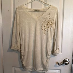 Gold glitter top with pleated sides